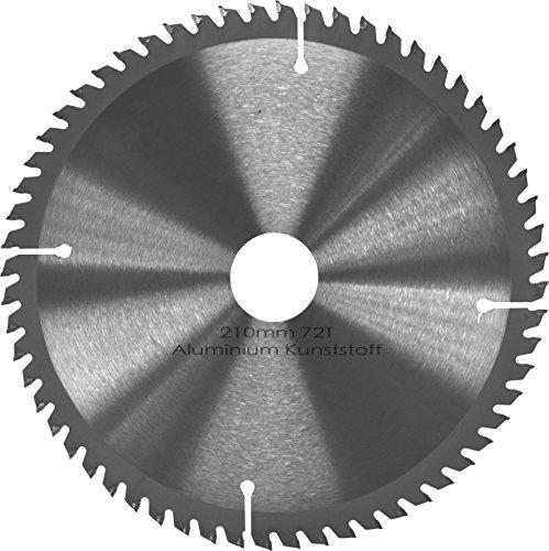 Kreissägeblatt Aluminium Kunststoff NE-Metalle Ø 210mm x 30mm HM 72 Zähne - Diamantschliff - inkl. 4...
