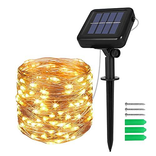 Solar Lichterkette Außen, Opard 12M 120 LED 8 Modi IP44 Kupferdraht Lichterketten für Garten, Hof, Party, Balkon, Hochzeit, Außen, Fest Deko(Warmweiß)