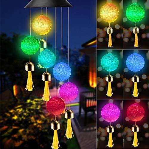 KNMY Solarleuchten Windspiele, Farbwechsel Lichterkette mit Glocke, Hängeleuchte Deko für Garten Außen, Überraschungsgeschenk für Freundinnen Mütter Tochter