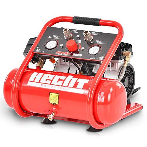 Tragbarer HECHT Flüsterkompressor Druckluftkompressor – 6l Kessel– 105 l/min – 8 bar – kompakt, ölfrei, silent – Extrem leiser mobiler Kleinkompressor für Druckluft Arbeiten (Kompressor Rot)
