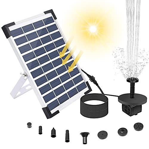 Solar Springbrunnen 5.5W, Solar Teichpumpe Wasserpumpe Solar Schwimmender Fontäne Pumpe mit Viele Arten Fontänenstile für Garten, Vogel-Bad, Teich, Fisch-Behälter