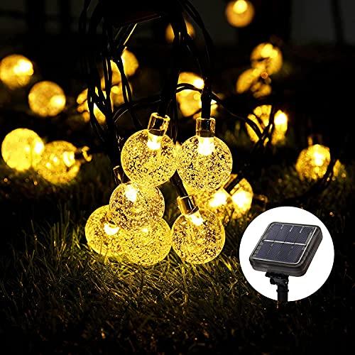 LHFD Solar Lichterkette, 60 Süße Blase LED Lichter, 11M / 20Ft 8 Modi Sternenlichter, wasserdichte Feenhafte Dekorative Lichterketten für Außen, Hochzeits, Wohn, Garten, Terrassen, Party