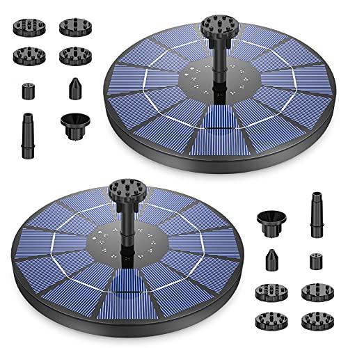 AISITIN 2PCS 3.5W Solar Springbrunnen Solar Teichpumpe mit Solar Panel Eingebaute Batterie Wasserpumpe Solar Schwimmender Fontäne Pumpe mit 6 Fontänenstile für Garten, Vogel-Bad,Teich,Fisch-Behälter