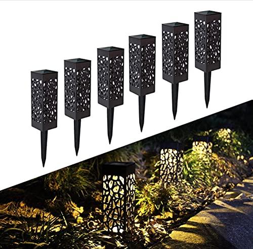 EURK Solar Gartenleuchte, 6 Stück Solar Gartenleuchten im Freien, wasserdichte Solarleuchten im Freien LED-Wegleuchte Dekorative Gartenleuchten, für Rasen, Hof, Flur