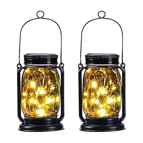 Aimiyaelec 2 Stück Einmachglas Retro-Laterne Solarlampen für Außen Balkon Tischleuchte Hängeleuchte Dekoration für Gärten, Terrassen, Balkone, Partys, Hochzeiten, Feiertage Solar-Gartenleuchte