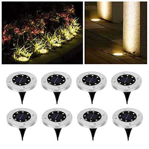 Wilktop Solarleuchten für Garten Solarlampe Lampe Solarleuchte Bodenleuchte Warmweiß mit 8LEDs Licht Bodenstrahler LED Außen IP65 8er im Set Solar Außenleuchte
