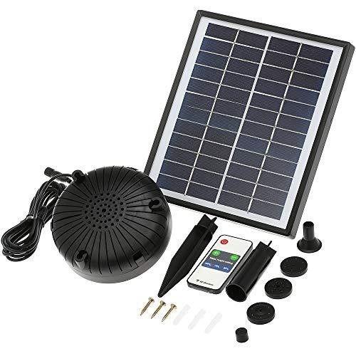 Decdeal Solar-Springbrunnenpumpe 12 V 5 W verbesserte Solar-Teichpumpe für Vogeltränke, solarbetriebene bürstenlose Tauchpumpe mit eingebauter Batterie, Fernbedienung, Garten, Teich Pool