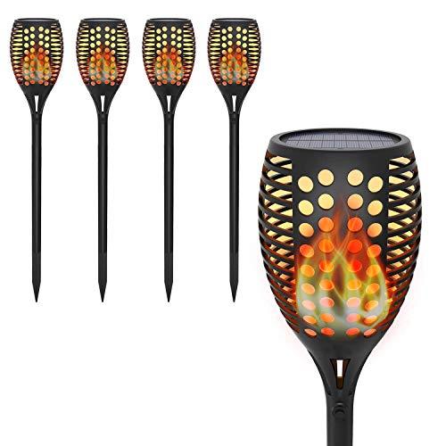 Solar Gartenfackel mit Realistischer Flammeneffekt,OxyLED 4 Stück 96 LED Solar Flammenlicht für Außen,IP65 Wasserdicht Solar Gartenleuchten für Garten,Patio,Partei,Weihnachten