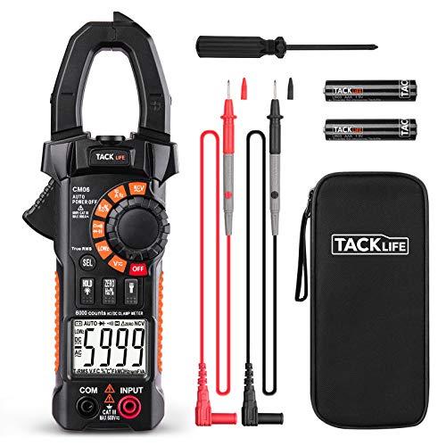 Tacklife CM03Amperometrische Zange, Digitaler Profi-Multimeter, automatisch ohne manuelle Eingabe, Schutz vor Überspannung, mit 1Hand verwendbar, Taschenformat