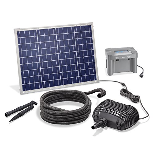 Solar Bachlaufset 50W Solarmodul 2500 l/h mit Akkuspeicher 12V/12Ah Förderleistung 2m Förderhöhe inkl. 5m Schlauch 25mm Bachlaufpumpe esotec pro Komplettset 101083