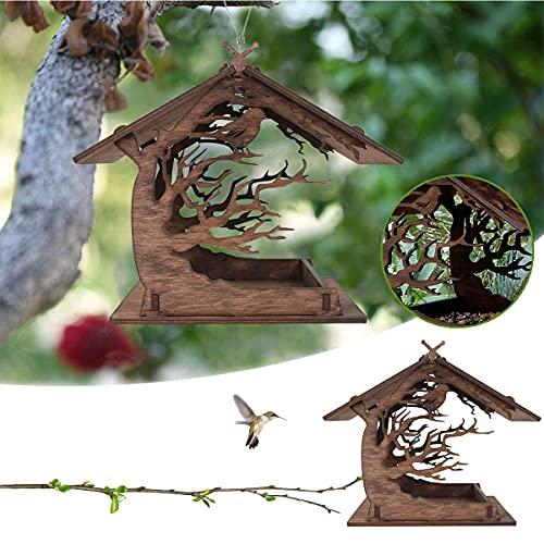 WFTD Vogelhäuschen aus Holz, DIY zusammengebautes Vogelhaus, Outdoor-Vogelhaus-Haustierhaus, Vogelhaus-Feeder für den Außenbereich von Ranch-Terrassen-Hof-Baumaufhängen, Gartendekoration