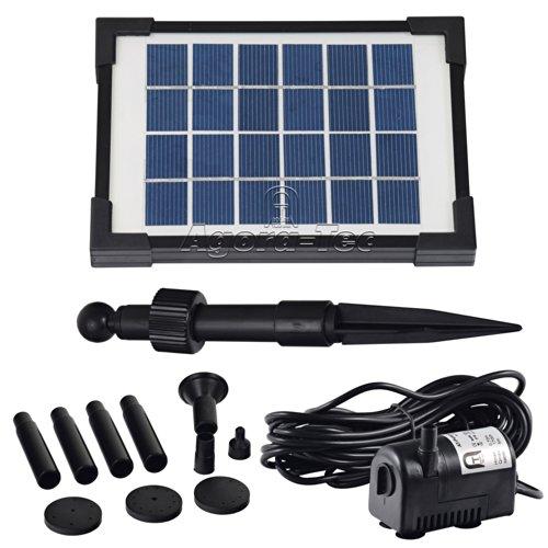 Agora-Tec® AT-2W Solar Teichpumpe 2 Watt Hmax.: 170l/h Fontainenhöhe: 0,65m für Gartenteich oder...