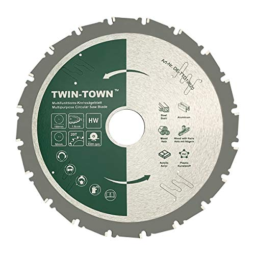 TWIN-TOWN HM Kreissägeblatt Multifunktions 190x30mm Z20, Ideal für Holz, Holz mit Nägeln, Stahl, Aluminium,...
