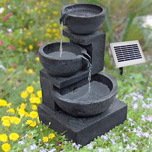 AMUR GARTENBRUNNEN BRUNNEN Solar BRUNNEN ZIERBRUNNEN VOGELBAD Wasserfall GARTENLEUCHTE TEICHPUMPE -...