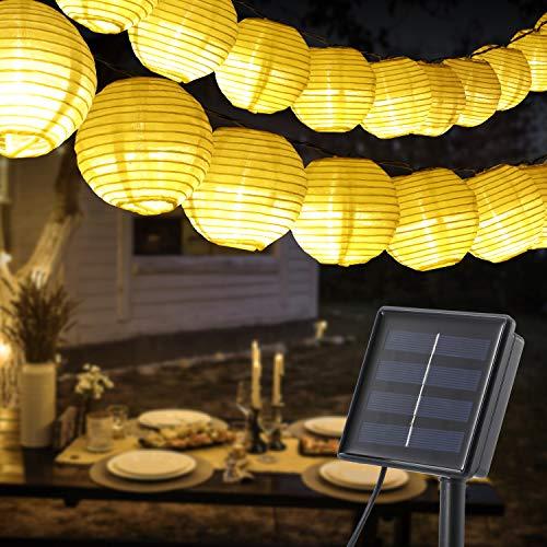 60 LED Lampion Lichterkette Außen, OxyLED Solar Lichterkette Aussen Lampions 8 Modi Wasserdicht IP65 Lampion Lichterkette Außen Solar für Garten, Terrasse, Hof, Haus, Weihnachten Deko (mit USB)