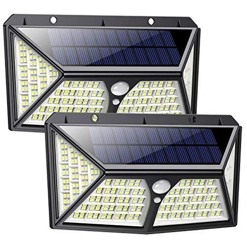 Solarlampen für Außen 254 LED, 【Automatische Beleuchtung】Feob Solarlampe für Außen mit Bewegungsmelder Solarleuchten [2500LM-2500mAh] - 3 Optionale Modi, IP65 Wasserdichte Wandleuchte [2 Stück]