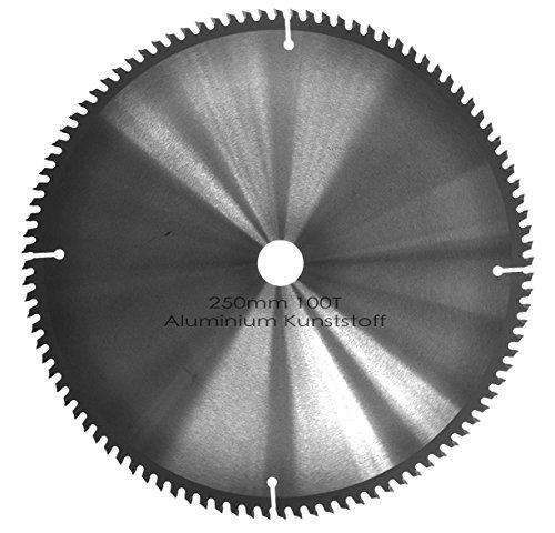 Kreissägeblatt Aluminium Kunststoff NE-Metalle Ø 250mm x 30mm HM 100 Zähne - Diamantschliff - inkl. 4...