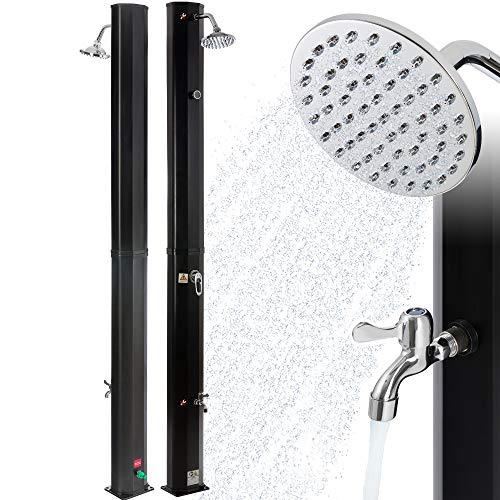 Arebos Solardusche | 35 Liter | 216 cm | mit integriertem Thermometer | Schwarz | runder Duschkopf | mit Fußdusche | Gartendusche mit Gartenschlauch-Anschluss | inkl. Montagematerial