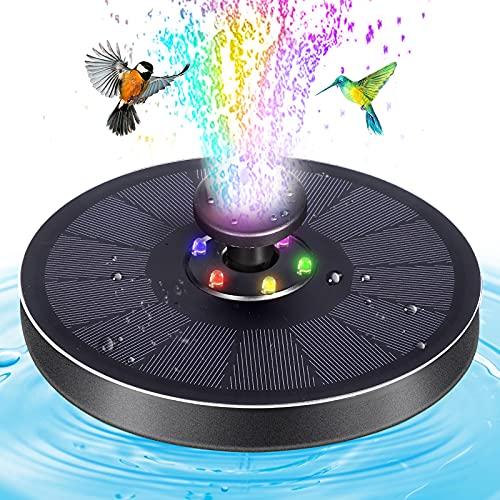 Solar Springbrunnen Buntes LED mit 8-in-1 Düse Solar Teichbrunnen Wasserpumpe,Solarpumpe Vogeltränke Brunnen Schwimmender Fontäne Pumpe mit 4 Anti-Kollision Bars für Vogelbad Teich Aquarium Garten