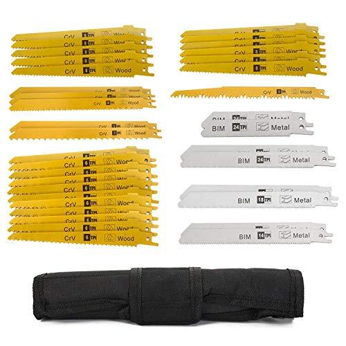 Säbelsägeblätter Set,Sägeblatt Set für Holz & Metall & Kunststoff 36-teilige Säbelsägeblätter mit Handtasche (36 Stück) Kompatibel mit gängigen Sägen