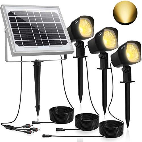 CLY Solarstrahler,Solarleuchten Garten,3Stück Gartenleuchte Solar 450LM LED Strahler Außen,IP66 Wasserdicht LED Solarlampe, 3 * 1.5W Warmweiß Spotbeleuchtung für Outdoor Rasen Hof Veranda
