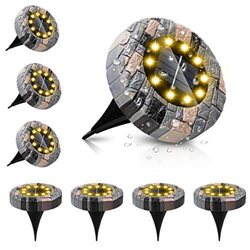 ZumYu Solar Bodenleuchte 8 Stück - 10 LEDs Gartenleuchte für Außen, Solarleuchten Garten, IP65 Wasserdicht Warmweiß Solarlampe Deko für Rasen, Auffahrt, Gehweg, Patio, Garden