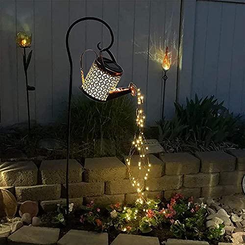 Lichterketten Solarleuchte Solarleuchten Garten Gießkanne Lichter Stern Dusche Wasserfall Form Twinkle Aussen Weg Zaun Terrasse Hof Beleuchtung