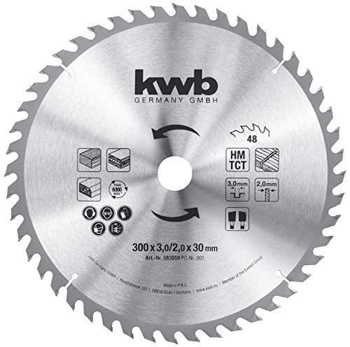 kwb 593059 Baukreissägeblatt 300 x 30, Sägeblatt für Tisch-Kreissägen, Wechselzahn f. mittlere Schnitte,...
