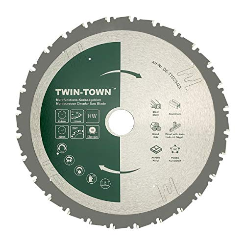 TWIN-TOWN HM Kreissägeblatt Multifunktions 254x30mm Z28, Ideal für Holz, Holz mit Nägeln, Stahl, Aluminium,...