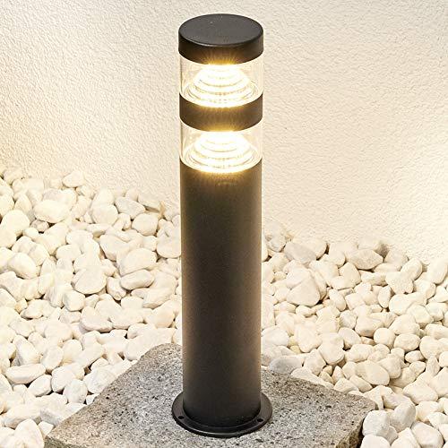 Lindby LED Außenleuchte 'Lanea' (spritzwassergeschützt) (Modern) in Schwarz aus Edelstahl (1 flammig, A+, inkl. Leuchtmittel) - Wegeleuchte, Pollerleuchte, Wegelampe, Sockelleuchte