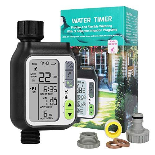 Hotelvs Bewässerungscomputer Wasserzeitschaltuhr Garten, Automatische Zeitschaltuhr Bewässerung IP65 Wasserdicht mit 3 Separaten Bewässerungsplan