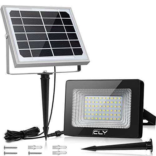 Solar Strahler CLY Solarlampe Außen 60 Verbesserte LED für Hohe Helligkeit 4000mAh Batterie Solarpanel Licht Gesteuert IP66 Wasserdicht Solarbetriebene Außenleuchte für Rasen Garten