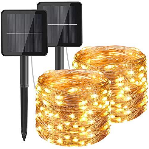 [2 Stück] Solar Lichterkette Aussen, Hepside Lichterkette Außen 12M 120 LED lichterkette solar außen IP65 Wasserdicht 8 Modus Balkon Lichterkette Solar für Deko Terrase Weihnachten Party, Warmweiß