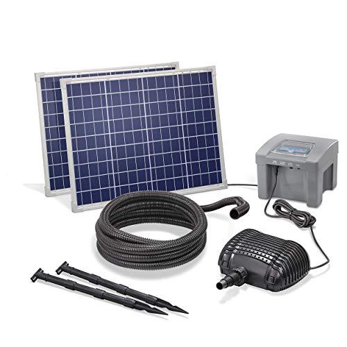 Solar Bachlaufset Professional mit 12V/24Ah Akkuspeicher und 2 x 50W Solarmodul - 2.600 l/h Förderleistung - 1,5 m Förderhöhe - 5m Spiralschlauch - Bachlaufpumpe Gartenteich Pumpe esotec 101974