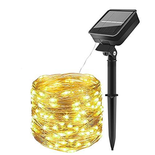 (1 Stück) AmmToo Solar-Lichterkette, 10 m, 100 LEDs, 8 Modi, wasserdicht, für Außen- und Innenbereich, Dekoration für Party, Garten, Weihnachten, Hochzeit (warmweiß)