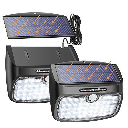 Solarlampen für Außen, 48 LED Solarleuchte mit Bewegungsmelder, Trennbare Solarpanel 800lm Solarbetrieben mit 3 Modi 2.5m Verlängerungskabel Wasserdicht Sicherheitswandleuchte Solarlampe [2 Stück]