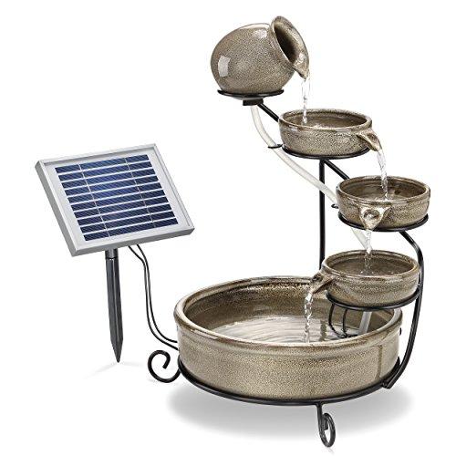 Solar Kaskadenbrunnen grau mit Akkuspeicher und LED Licht - großes 2 Watt Solarmodul - verschleißarme Pumpe - Springbrunnen Wasserspiel Solarbrunnen - Größe ca. 31 x 31 x 55 cm, esotec 101300