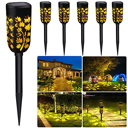 INHDBOX Solarleuchten Garten, 6 Stück LED Warmweiß Solarlampen für Außen, IP65 Wasserdicht Solar Wegeleuchte Dekorative Licht Solarlampen für Außen Garten Landschaft Rasen Gehweg [Energieklasse A+]