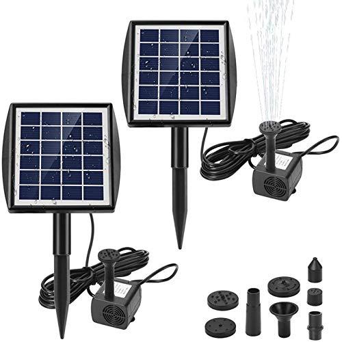 Ankway Solar Springbrunnenpumpe 2er Set, 2W Solar Wasserpumpe mit 7 Düsen, bürstenlose Wasserpumpe für...