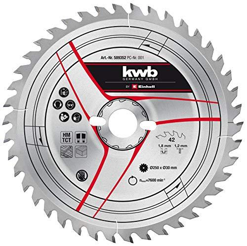 kwb by Einhell HM-Sägeblatt (Ø 250 x 30 mm, 42 Zähne, passend für diverse Einhell Tischkreissägen, Zug-Kapp-Gehrungssägen und Kapp-Gehrungssägen)