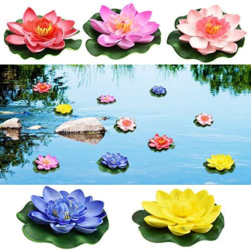 PERFETSELL Schwimmende Blumen Künstliche Seerosen Eva Lotus 5 Stück Wasserlilie Pflanzen 10cm Teichrose...