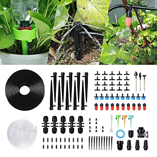 KAUTO Bewässerungs-Kit 129PCS Micro Bewässerungssysteme Pflanzen Tropfbewässerung Gewächshaus Sprinkler für Garten Befeuchtung Rasen im Freien Zerstäubung Kühlung-30M