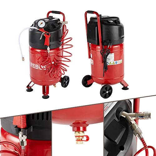 AREBOS Druckluft Kompressor Luftkompressor 1500W | 30L | 10 bar | Stehend | inkl. 13-tlg. Zubehör | 2...