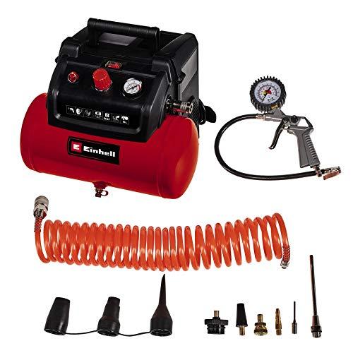 Einhell 4020650 Kompressor TC-AC 190/6/8 OF Set (8 bar, 6 Liter Drucklufttank, öl-/servicefreier Motor, Druckminderer, inkl. Ausblaspistole, Reifenfüller, 5 m Schlauch + 8 Adapter)