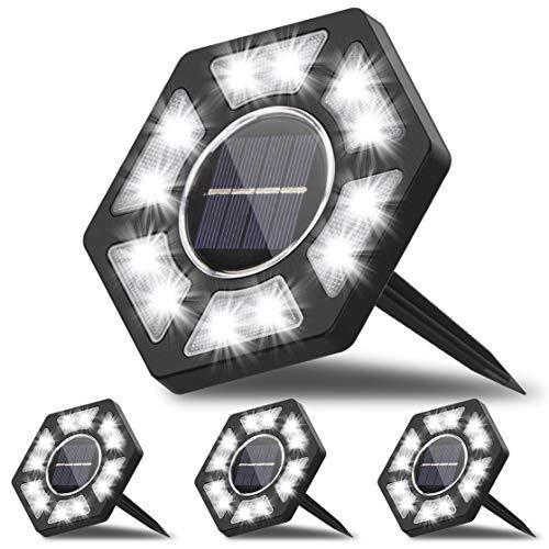 Karvipark Solar Bodenleuchte, 12 LEDs Solarlampen mit IP67 Wasserdicht Bodenleuchte Außenleuchte Gartenleuchten Weißes Licht Geeignet für Rasen Weg Hof
