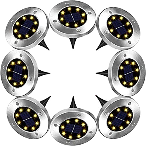 JZlamp Solar Bodenleuchte 8 Stück LED Solar Outdoor Garten Licht Scheibe Licht wasserdichte Keller Outdoor Landscape Beleuchtung geeignet (8 Stück)