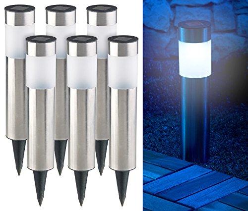 Lunartec Solar Gartenlampen: 6er-Set Elegante Edelstahl-Solar-LED-Wegeleuchten, mit Lichtsensor (LED Gartenleuchten)