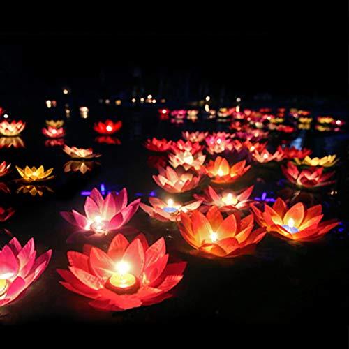 LEDMOMO LED schwimmende Lotus Laterne Wishing Seerose künstliche Kerze Blume Laternen Pool Dekor für...