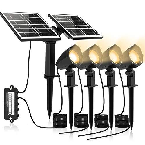 MEIHUA Solar Strahler 4 Stück Solar Gartenleuchte IP66 wasserdichte, Solarlampen für außen, mit Erdspieß, für Gärten, Sträucher und Bäume Warmweiß