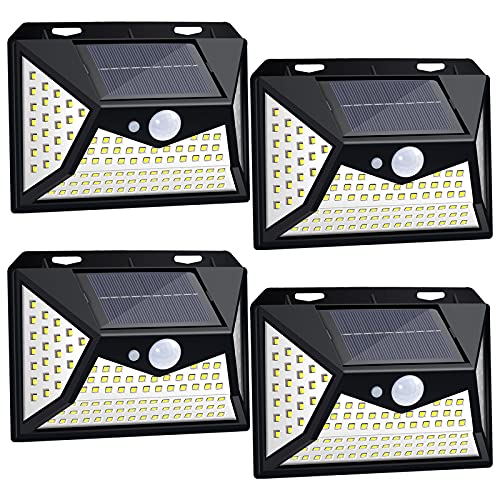 Solarlampen für Außen mit Bewegungsmelder,118 LEDs 270°Superhelle Solarleuchten/Solarlichter,IP44 Solar wasserdichte Aussen Wandleuchte,Solar Gartenlicht mit 3 Modi (4 Stück)